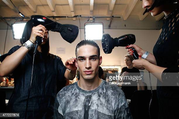 Backstage at the Bobby Abley show during The London Collections Men SS16 at Victoria House on June 15 2015 in London England