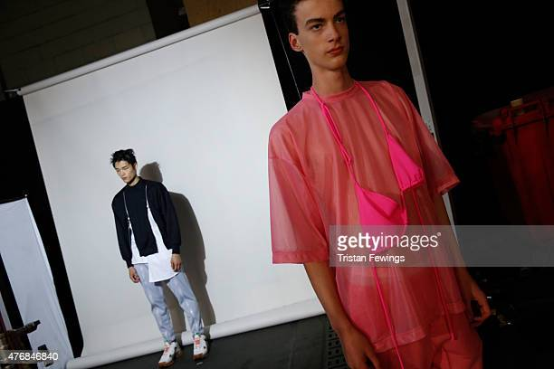 Backstage at the Christopher Shannon show during The London Collections Men SS16 at The Old Sorting Office on June 12 2015 in London England