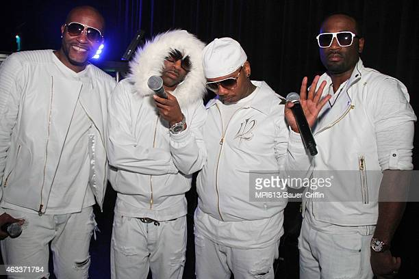 112 backstage at the Diddy and Snoop Dogg 'The Tip Off' concert at The Theater at Madison Square Garden on February 12 2015 in New York City