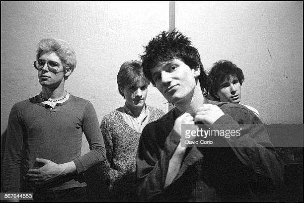 U2 backstage at the Garden of Eden club Tullamore Ireland 2 March 1980 LR Adam Clayton Larry Mullen Jnr Bono The Edge