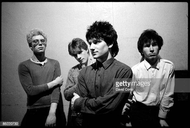 U2 backstage at the Garden of Eden club Tullamore Ireland 2 March 1980 LR Adam Clayton Larry Mullen Jnr Bono and The Edge