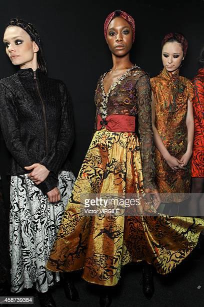 Backstage at the Lino Villaventura fashion show during Sao Paulo Fashion Week Winter 2015 at Parque Candido Portinari on November 6, 2014 in Sao...