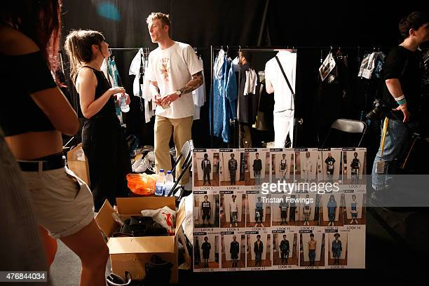 Backstage at the MAN show during The London Collections Men SS16 at The Old Sorting Office on June 12 2015 in London England