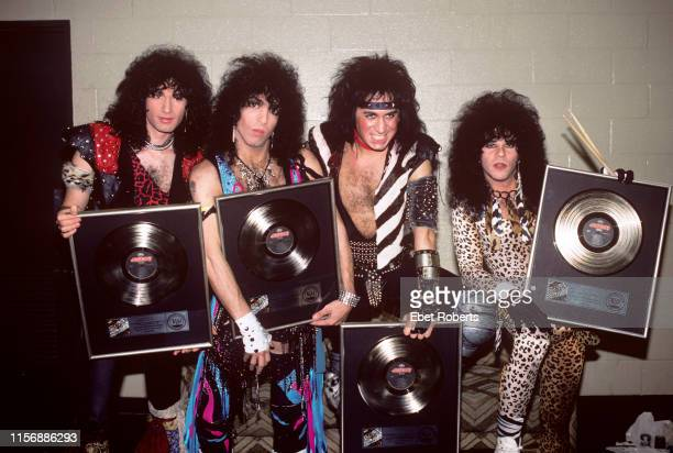 KISS backstage at the Meadowlands in East Rutherford New Jersey on March 29 1985 LR Bruce Kulick Paul Stanley Gene Simmons Eric Carr