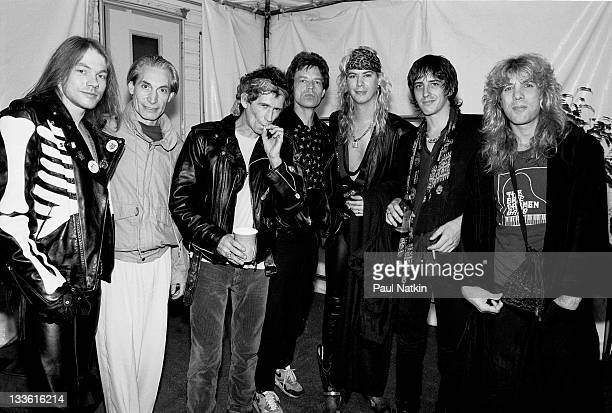 Backstage at the Rolling Stones' 'Steel Wheels' tour The Rolling Stones pose with the the band Guns 'n Roses late 1989 Pictured are from left Axel...
