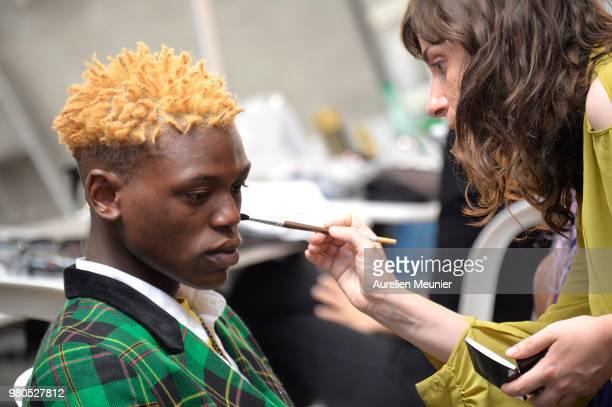 Backstage atmosphere during the Heron Preston Menswear Spring/Summer 2019 'En Vogue' Presentation as part of Paris Fashion Week on June 21 2018 in...