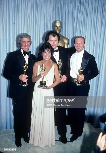 March 29 1982 LR BURT BACHARACH CAROLE BAYER SAGER CHRISTOPHER CROSS AND PETER ALLEN BEST ORIGINAL SONG WINNERS FOR ARTHUR'S THEME