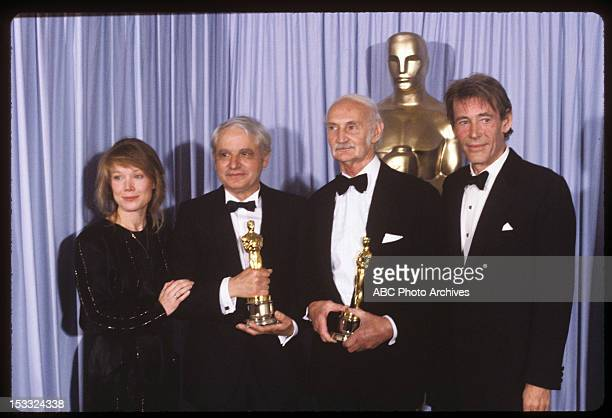 March 31 1981 PIERRE GUFFROY AND JACK STEPHENS BEST ART DIRECTOR WINNERS FOR 'TESS' WITH PRESENTERS SISSY SPACEK AND PETER O