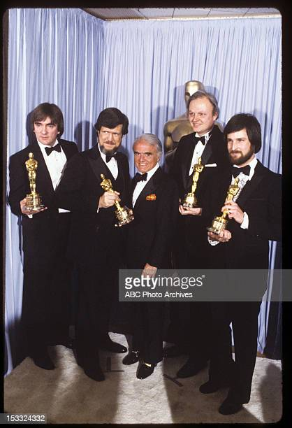 March 31 1981 PRESENTER JACK VALENTI WITH BEST VISUAL EFFECTS WINNERS BRIAN JOHNSON RICHARD EDLUND DENNIS MUREN AND BRUCE NICHOLSON FOR 'THE EMPIRE...
