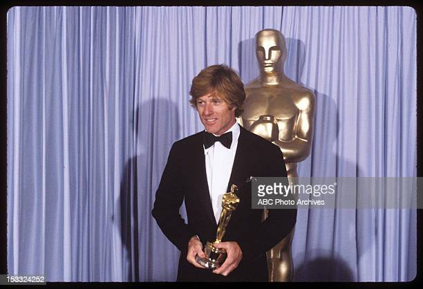 Backstage Coverage - Airdate: March 31, 1981. ROBERT REDFORD WITH BEST DIRECTOR OSCAR FOR 'ORDINARY PEOPLE'