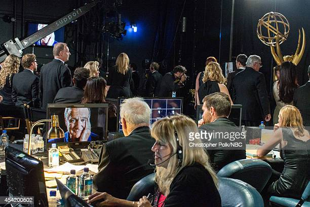 Backstage crew watch the tribute to the late Robin Williams at the 66th Annual Primetime Emmy Awards held at Nokia Theatre LA Live on August 25 2014...