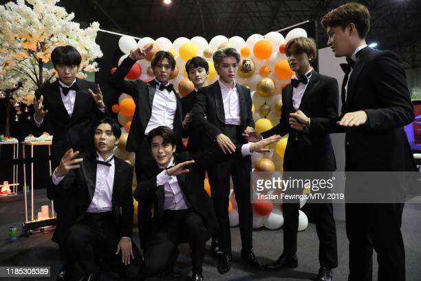 NCT 127 backstage during the MTV EMAs 2019 at FIBES Conference and Exhibition Centre on November 03 2019 in Seville Spain