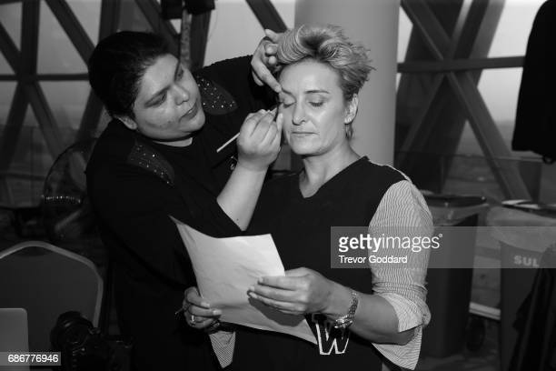 Backstage models and stylists get ready for day 5 at Arab Fashion Week Ready Couture Resort 2018 on May 20 2017 at Meydan in Dubai United Arab...