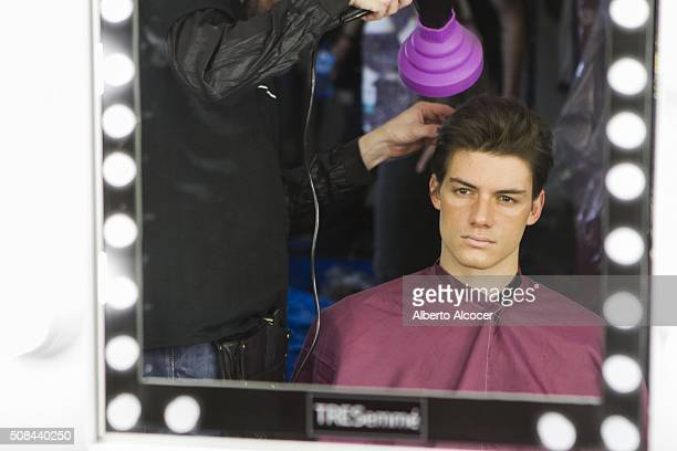 Backstage Moment at MFSHOW Emidio Tucci Fashion Show on February 4 2016 in Madrid Spain