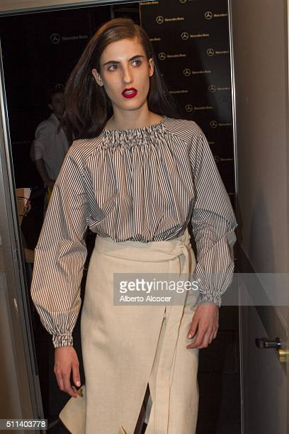 Backstage moment during the MercedesBenz Madrid Fashion Week Autumn/Winter 2016/2017 at Ifema on February 19 2016 in Madrid Spain