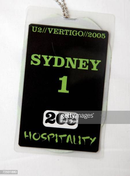 A backstage pass is seen ahead of the first of three rescheduled Sydney dates of the U2 Vertigo Tour at the Telstra Stadium on November 10 2006 in...