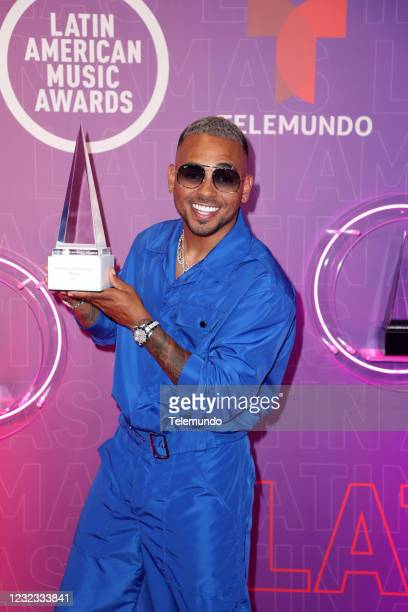 """Backstage"""" -- Pictured: Ozuna, winner of the Extraordinary Evolution Award, at the BB&T Center in Sunrise, FL on April 15, 2021 --"""