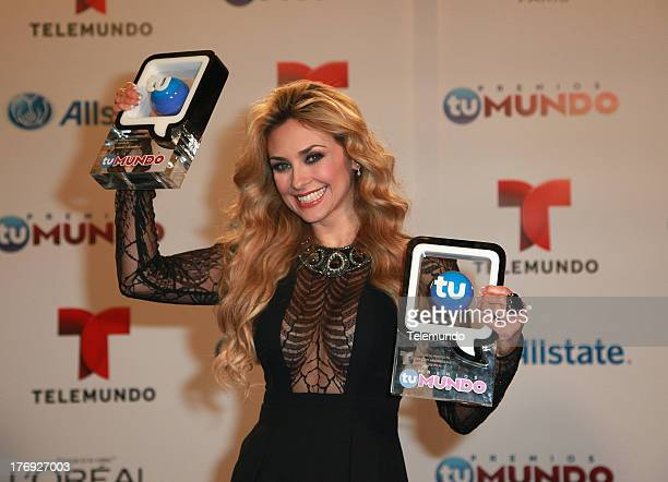 Winner Aracely Arambula Backstage during the 2013 Premios Tu Mundo from the American Airlines Arena in Miami Florida August 15 2013
