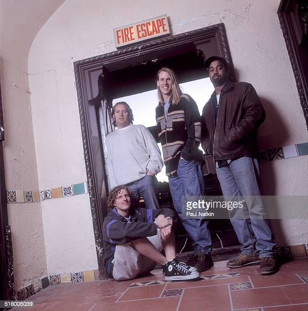 Backstage portrait of American band Hootie and the Blowfish as they pose at the Aragon Ballroom Chicago Illinois March 24 1995 Pictured are from left...