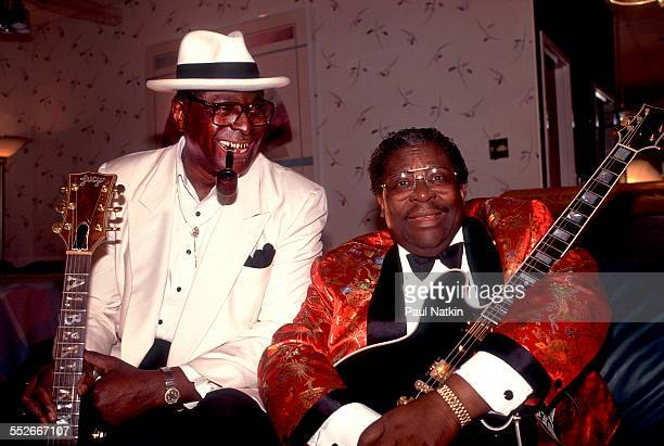 Backstage portrait of American Blues musicians Albert King and BB King Cleveland Ohio February 20 1991 The two men were not related