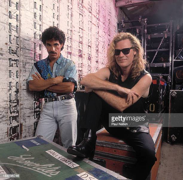 Backstage portrait of American musicians John Oates and Darryl Hall at the Harborfront Pavillion Baltimore Maryland July 20 1991