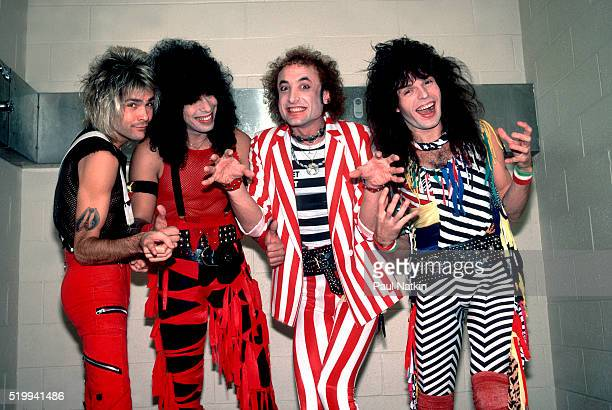 Backstage portrait of American Rock band Quiet Riot at the UIC Pavillion Chicago Illinois November 10 1984 Pictured are from left Carlos Cavazo...