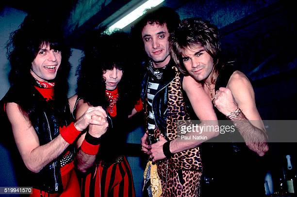 Backstage portrait of American Rock band Quiet Riot at the UIC Pavillion Chicago Illinois November 17 1983 Pictured are from left Rudy Sarzo Frankie...