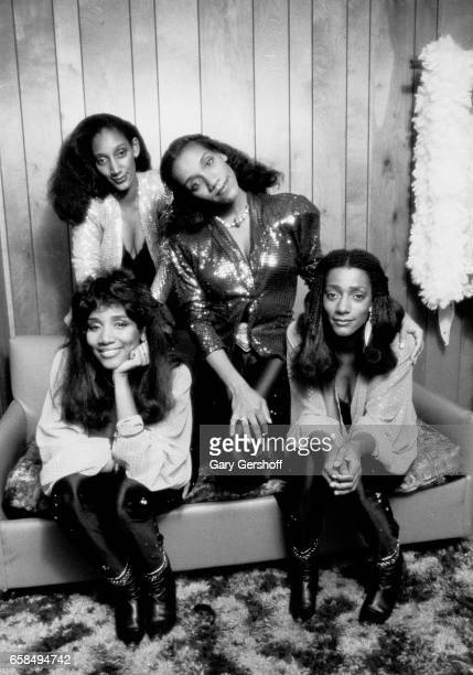 Backstage portrait of American Soul and Disco group Sister Sledge Atlantic City New Jersey August 15 1981 Pictured are from left sisters Joni Sledge...