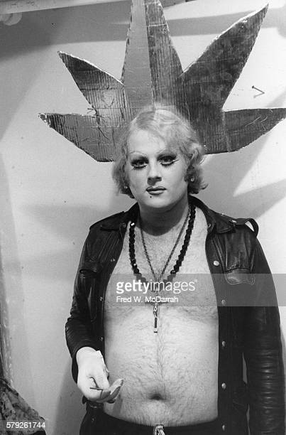 Backstage portrait of an unidentified member of the San Franciscobased psychedelic theatre troupe the Cockettes posing backstage New York New York...