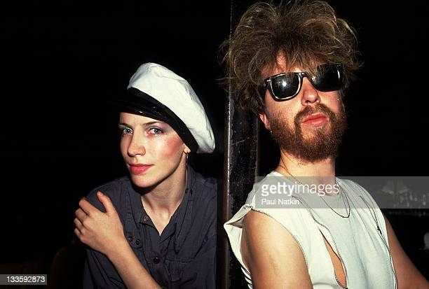 Backstage portrait of British musicians Annie Lennox and David A. Stewart of the Eurthymics at the Park West, Chicago, Illinois, July 29, 1986.
