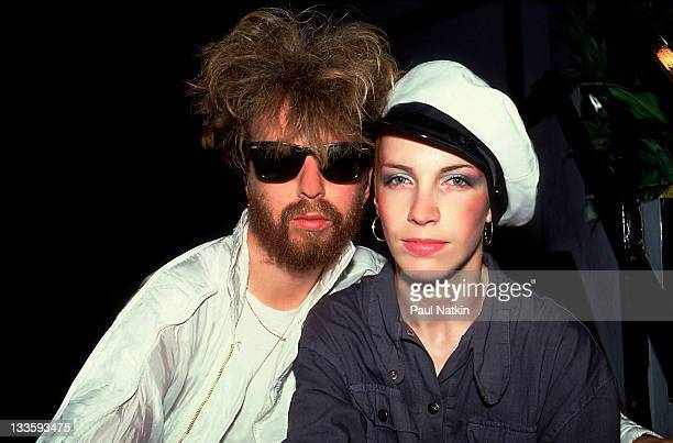 Backstage portrait of British musicians David A Stewart and Annie Lennox of the Eurthymics at the Park West Chicago Illinois July 29 1986
