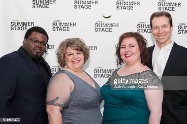 Backstage portrait of from left Metropolitan Opera singers tenor Russell Thomas soprano Ashley Wagner mezzosoprano Jamie Barton and piano accompanist...