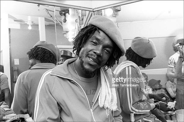 Backstage portrait of Jamaican Reggae musician Peter Tosh attends a Jah Malla concert at the Bottom Line New York New York June 6 1976