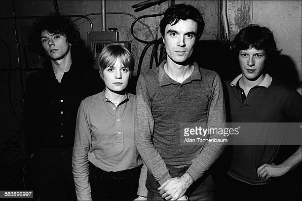 Backstage portrait of music group the Talking Heads at the Lower Manhattan Ocean Club New York New York February 10 1977