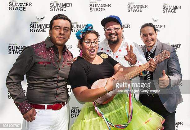 Backstage portrait of the band La Santa Cecilia as they pose after opening the final concert of the 15th Annual Latin Alternative Music Conference at...