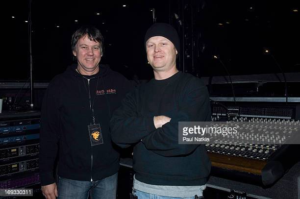 Backstage portrait of two unidentified members of the sound crew for country music performer Keith Urban at the Allstate Arena Rosemont Illinois...