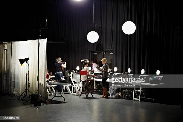 backstage preparation area of fashion show - fashion show stock pictures, royalty-free photos & images