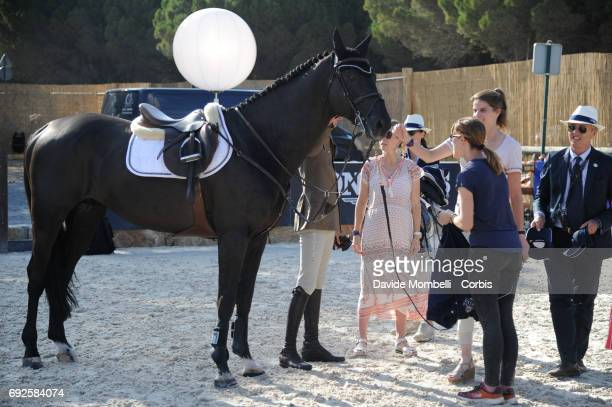 Backstage RACKHAM´JO and Athina Onassis during the Longines Grand Prix Athina Onassis Horse Show on June 3 2017 in St Tropez France