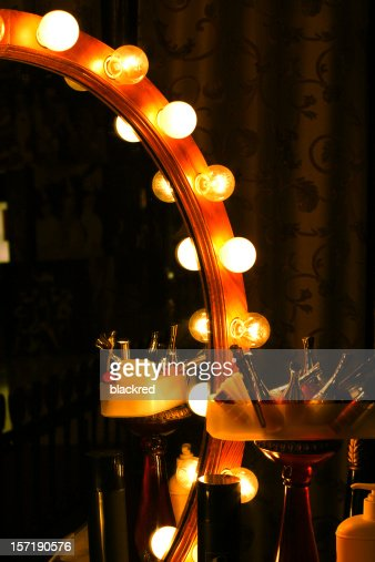 Backstage Retro Light Bulb Mirror Stock Photo Getty Images