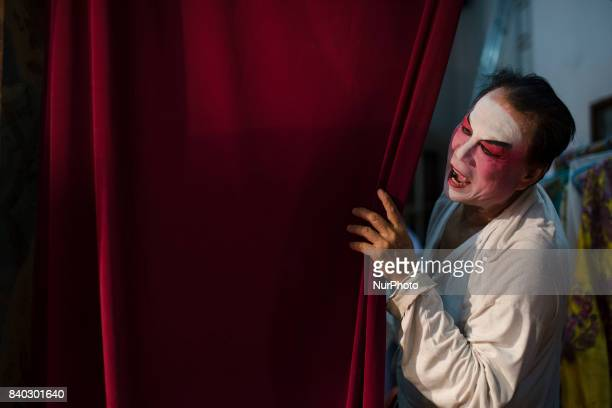 Backstage scenes of Chinese opera at the Shen Sze She Yar temple Kajang in Kuala Lumpur Malaysia on on August 28 2017 The temple celebrate Xian Si...