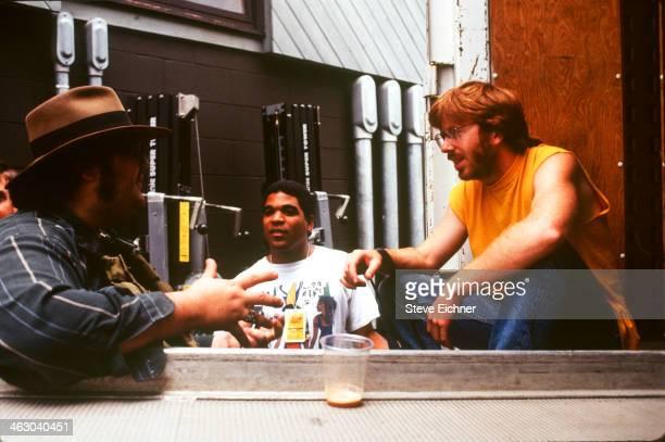 Backstage view of from left American musicians John Popper of Blues Traveler Oteil Burbridge of Aquarium Rescue Unit and Trey Anastasio of Phish at...