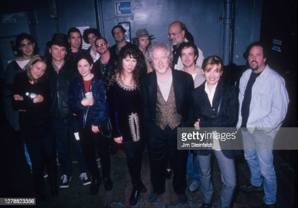 Backstage with performers at the Gimme Shelter benefit concert at the Palace Theatre in Los Angeles, California on November 20, 1995.