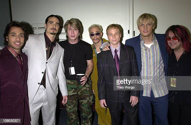 Backstreet Boys and Goo Goo Dolls during The Concert for New York City Backstage at Madison Square Garden in New York City New York United States