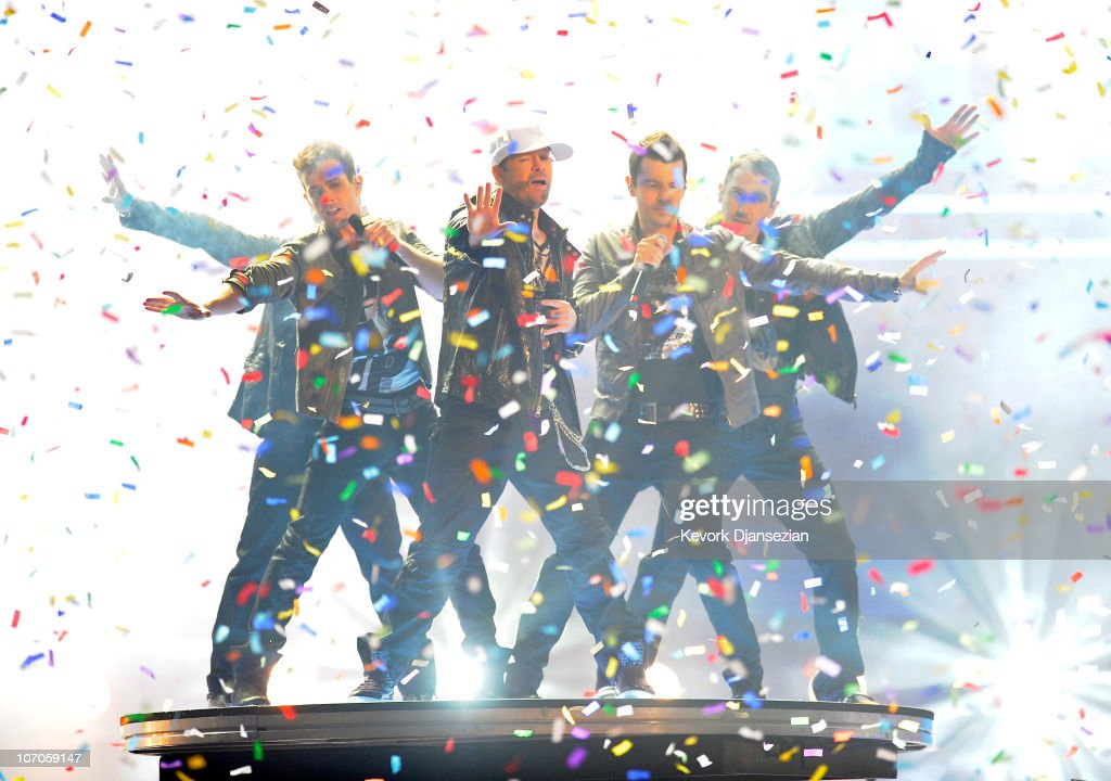 Backstreet Boys and New Kids on the Block perform onstage during the 2010 American Music Awards held at Nokia Theatre L.A. Live on November 21, 2010 in Los Angeles, California.