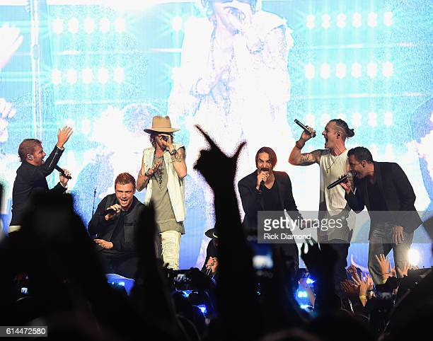 Backstreet Boys Brian Littell Nick Carter AJ McLean Brian Richardson and Howie Dorough join Brian Kelley and Tyler Hubbard of Florida Georgia Line...