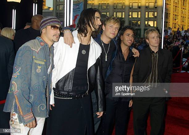 Backstreet Boys during 2001 MTV Video Music Awards Arrivals at The Metropolitan Opera House at Lincoln Center in New York City New York United States