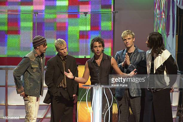 Backstreet Boys during 2001 MTV Video Music Awards Show at The Metropolitan Opera House at Lincoln Center in New York City New York United States