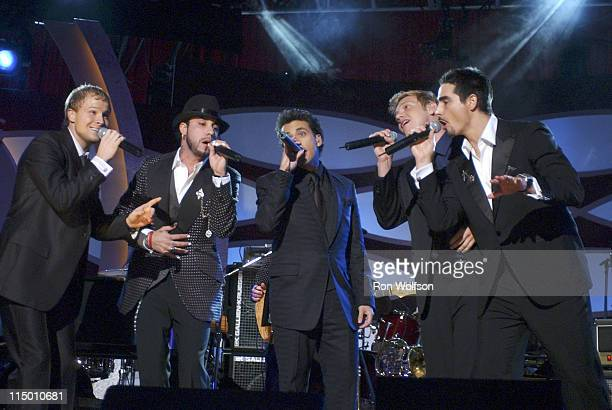 Backstreet Boys during 2005 MusiCares Person of the Year Brian Wilson Show at Palladium in Hollywood California United States Photo by Ron...