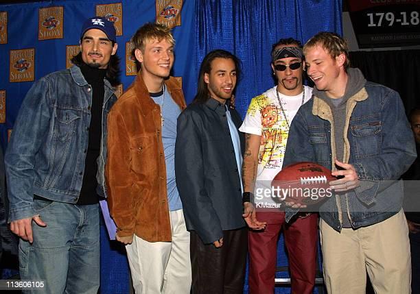 Backstreet Boys during Super Bowl XXXV Backstreet Boys Press Conference at Raymond James Stadium in Tampa Florida United States