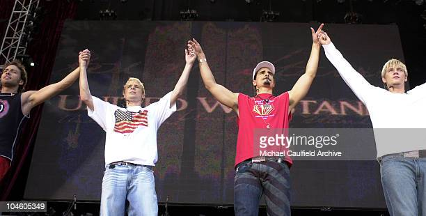 Backstreet Boys join hands during United We Stand Concert Show at RFK Stadium in Washington DC Washington United States